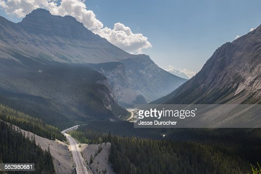 The Icefields Parkway winding through the valley