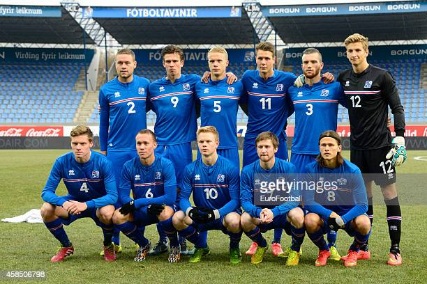 The Iceland players pose for a team photo during the UEFA U21 Championship second leg playoff between Iceland and Denmark at the Laugardalsvollur...