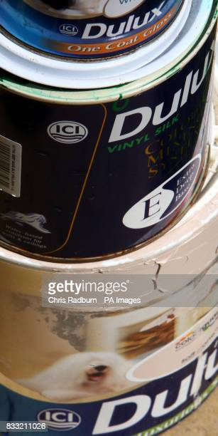 The ICI Logo on the side of a tin of Dulux Emulsion