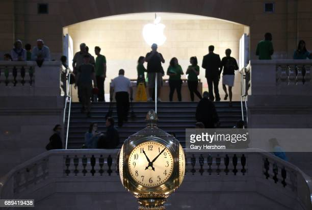 The iconic clock inside Grand Central Terminal in front of the Apple store on May 26 2017 in New York City