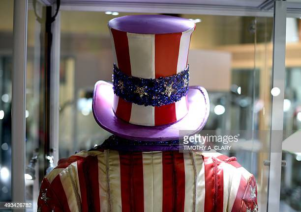 The iconic hat and costume worn by actor Carl Weathers in the film'Rocky IV' on display during a press preview of Heritage Auctions upcoming auction...
