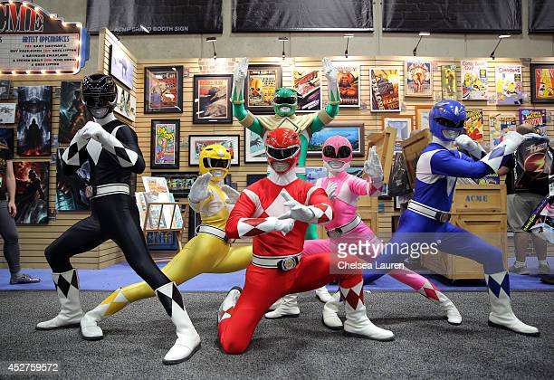 The iconic Mighty Morphin Power Rangers strike a pose at San Diego ComicCon International on July 26 2014 in San Diego CA
