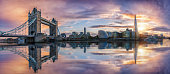 The iconic skyline of London: from the Tower Bridge to London Bridge during sunset