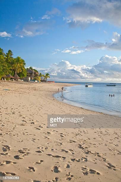 The iconic South Seas beach and lagoon is seen Castaway Resort Qalito Island Fiji