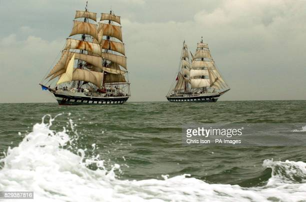 The identical tall ships Prince William and Stavros S Niarchos match racing on the Solent The 60 metre twinmasted brigs complete with 36 sails...