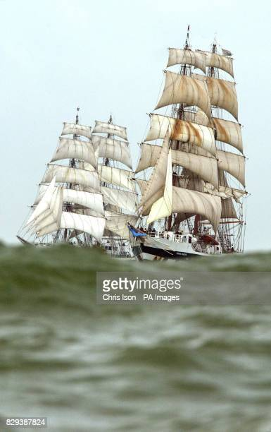 The identical tall ships Prince William and Stavros S Niarchos match racing on the Solent