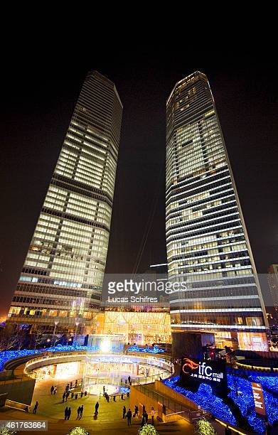 The IFC twin buildings stand in Luziajui business district on December 27 2010 in Shanghai China