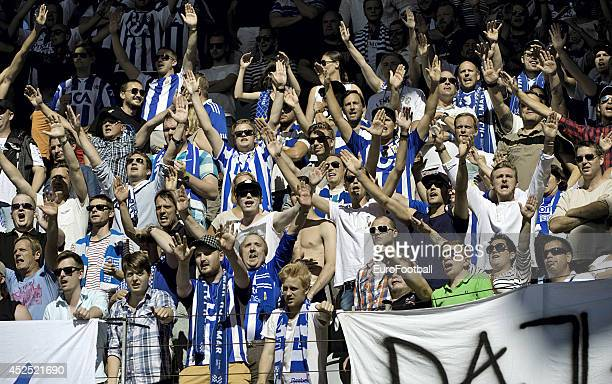 The IFK Goteborg fans during the Swedish Allsvenskan League match between IFK Goteborg and Helsingborg at the Gamla Ullevi Stadium on July 6 2014 in...