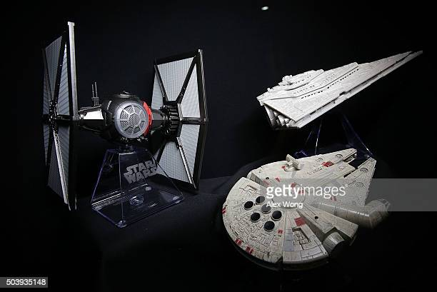 The iHome Star Wars bluetooth speakers are on display with a remote control at CES 2016 at the Las Vegas Convention Center on January 7 2016 in Las...