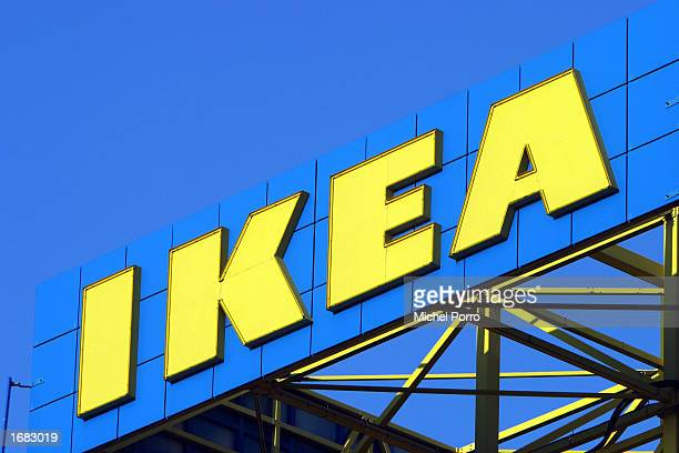 The IKEA logo is shown outside the company's store December 4 2002 in Delft the Netherlands All 10 stores of the furniture retailing giant in the...