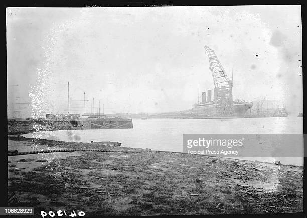 The illfated White Star liner Titanic under construction at the Harland and Wolff shipyard Belfast February 1912