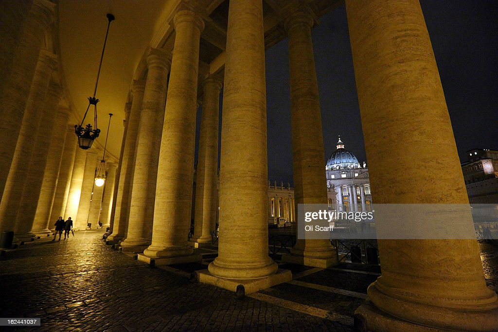 The illuminated Basilica is seen through the colonnade in Saint Peter's Square is on February 23, 2013 in Vatican City, Vatican. Pope Benedict XVI is due to hold his last weekly public audience tomorrow before he retires on Thursday. Pope Benedict XVI has been the leader of the Catholic Church for eight years and is the first Pope to retire since 1415. He cites his retirement due to ailing health and is to spend the rest of his life in solitude away from any public engagements.