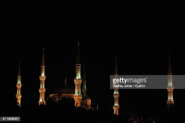The illuminated Blue Mosque in Istanbul
