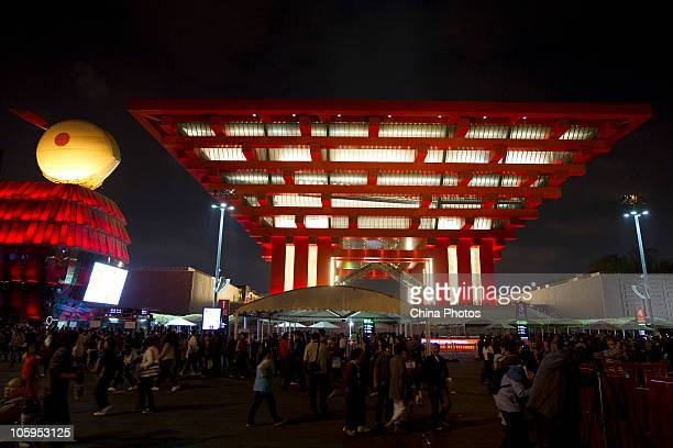 The illuminated China Pavilion is seen during the 2010 World Expo on October 21 2010 in Shanghai China Shanghai Expo receives over 7327 thousand...