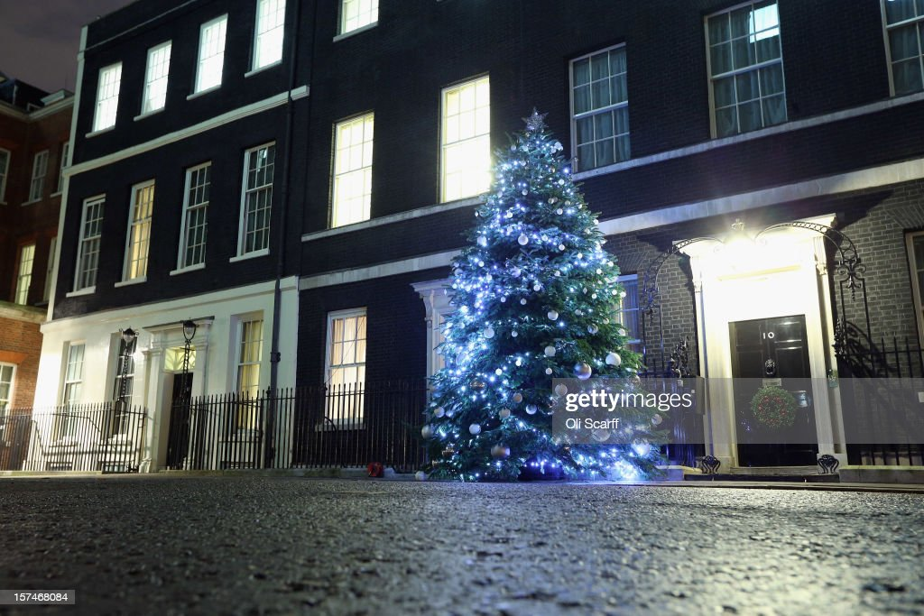The illuminated Christmas tree outside Number 10 Downing Street on December 3, 2012 in London, England. This year's Downing Street Christmas tree was grown by Mike Craig on his farm in Dumfries, Scotland and the tree's lights were turned on by Prime Minister David Cameron, singer Nicole Scherzinger and the finalists of the Xfactor programme: James Arthur, Jahmene Douglas and Christopher Maloney.