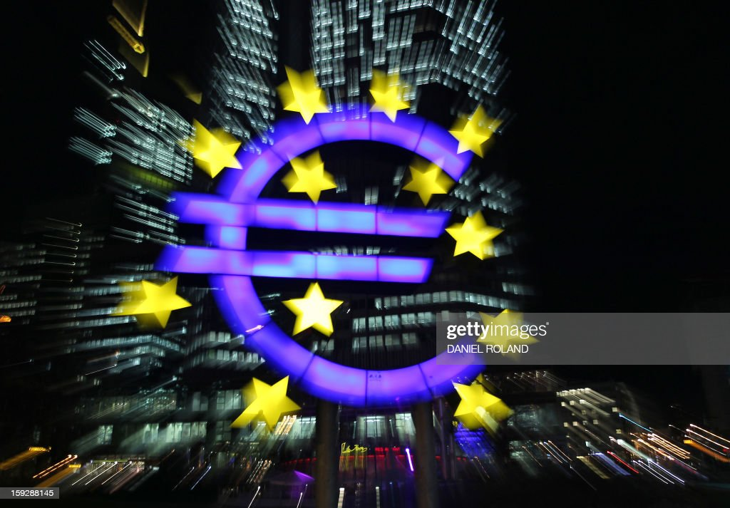The illuminated EURO sign is seen in front of the European Central Bank, ECB in Frankfurt am Main, western Germany, on January 10, 2013. The euro shot up, gaining 1.5 percent against the dollar, after European Central Bank chief Mario Draghi made upbeat remarks about the eurozone's economic outlook.