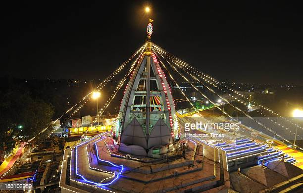 The illuminated Jhandewalan temple on the eve of Navratri festival on October 4 2013 in New Delhi India The word Navaratri literally means nine...