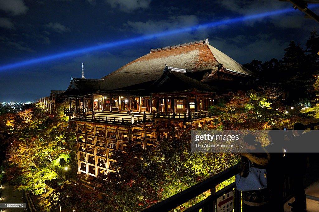 The illuminated veranda of Kiyomizudera temple is seen during the test lighting on November 14, 2013 in Kyoto, Japan. Temple illuminations will start from Nov. 15 to Dec. 8.