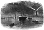 The illuminations of Port Said during the opening of the Suez Canal Egypt 1869 From a supplement to The Illustrated London News