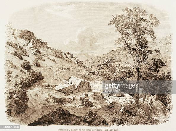 The illustration depicts a Mormon wagon train passing through the Rocky Mountains on its way from the Missouri River to Utah