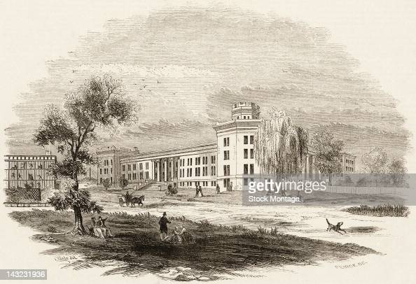 The illustration shows the New York City Lunatic Asylum Hospital Blackwell's Island New York New York circa 1852 The asylum which opened in 1839 was...