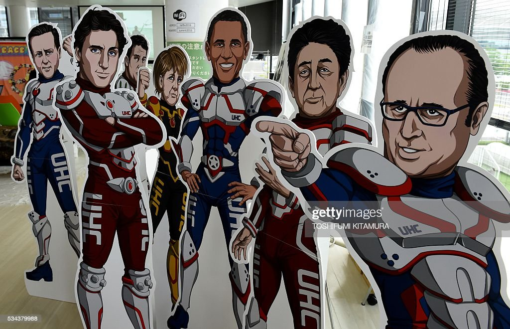 The illustrations of hero-style G7 leaders are on display by a NGO, the Partnership for Material, newborn and Child Health, to demand the leaders to be Universal Health Coverage (UHC) superheroes at the NGO exhibition building beside the International Media Centre in Ise city, Mie prefecture on May 26, 2016. World leaders kick off two days of G7 talks in Japan on May 26 with the creaky global economy, terrorism, refugees, China's controversial maritime claims, and a possible Brexit headlining their packed agenda. / AFP / TOSHIFUMI
