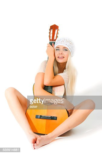the image of the girl with a guitar : Stock Photo