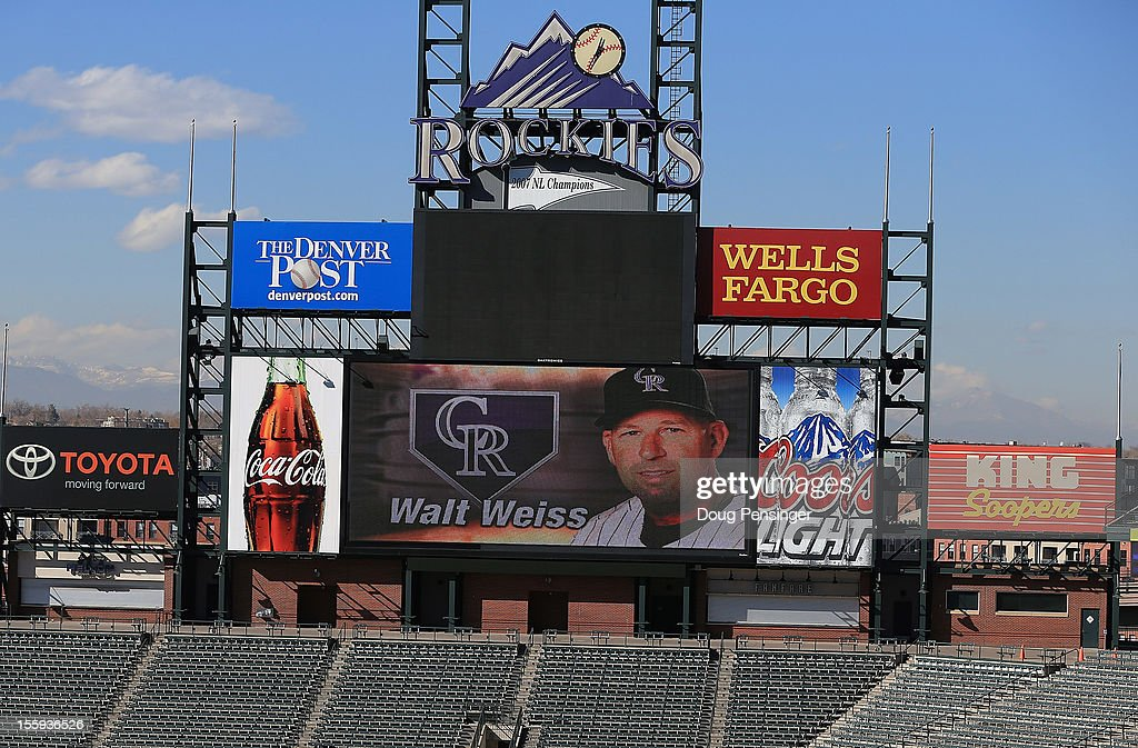 The image of Walt Weiss is displayed on the scoreboard as he was named the manager of the Colorado Rockies during a press conference at Coors Field on November 9, 2012 in Denver, Colorado.
