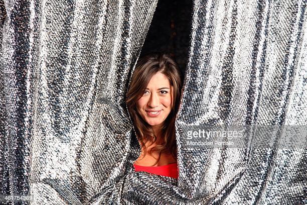The imitator and comedian Virginia Raffaele photographed at the Quelli che il calcio RAI studios while rehearsing the parody of the burlesque show...