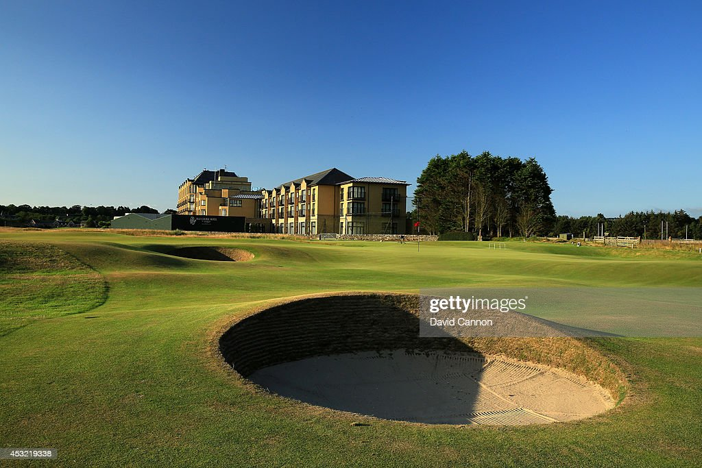 The immediate approach to the green on the par 4 16th hole on the Old Course at St Andrews venue for The Open Championship in 2015 on July 29 2014 in...