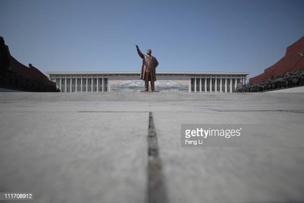 The Immortal Statue of Kim Il Sung monument is seen on April 3 2011 in Pyongyang North Korea Pyongyang is the capital city of North Korea and the...