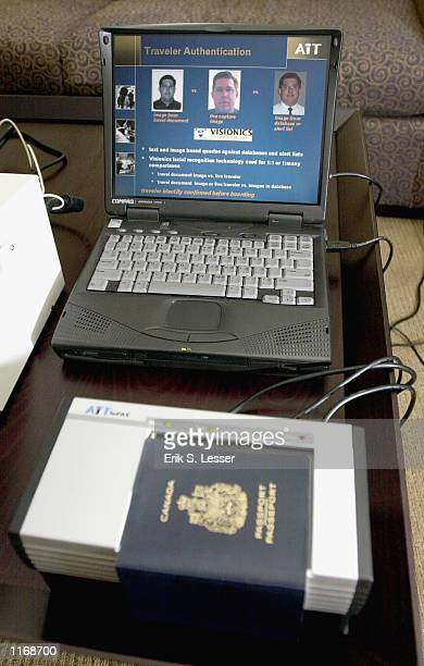 The imPAX document reader manufactured by AiT of Canada is demonstrated October 17 2001 at the IATA's AVSEC 2001 Symposium in Atlanta GA The device...