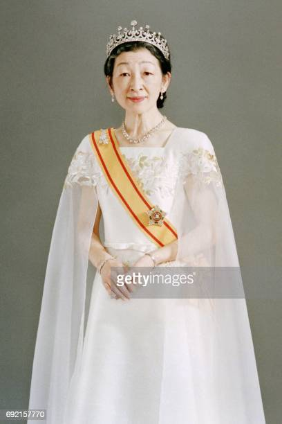 The Imperial Household Agency released this recent photo of Japanese Empress Michiko in full dress on November 8 1990 prior to the ceremonies of the...