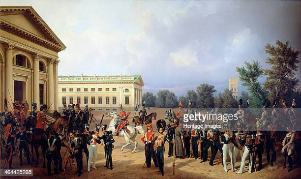 'The Imperial Russian Guard in Tsarskoye Selo in 1832' 1841 Krüger Franz Found in the collection of the State Openair Museum Palace Gatchina St...