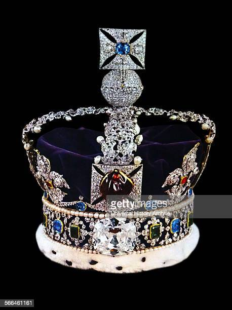 The Imperial State Crown encrusted with precious stones and made for Queen Victoria's coronation in 1838 From The Island Race a 20th century book...