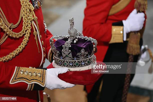 The Imperial State Crown is carried into the Houses of Parliament on May 18 2016 in London England The State Opening of Parliament is the formal...