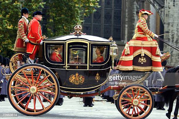The Imperial State Crown is taken to the House of Lords for the State Opening of Parliament Ceremony in the Queen Alexandra State Coach November 15...