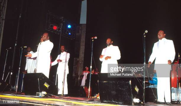 The Impressions perform on stage New York with Curtis Mayfield and Jerry Butler