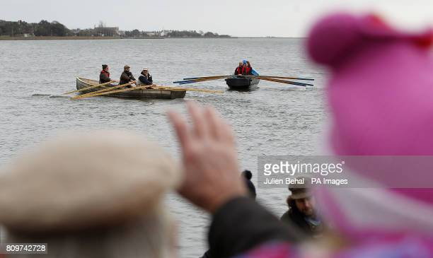 The inaugural launch of two traditional Irish currach boats built by artist Mark Redden and boat builder Padraig O Duinnin at the East Wall Sports...