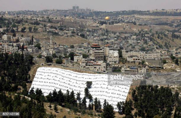 The inauguration of an exhibition by French artist Clara Halter called 'Peace Tents' seen from the Armon Hanatziv promenade Jerusalem 17 May 2006 In...