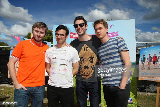 The Inbetweeners cast James Buckley Simon Bird Blake Harrison and Joe Thomas pose during a special appearance at MEKKA race day at Doomben Racecourse...