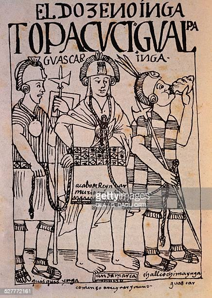 The Incan Atahualpa prisoner of the Spaniards engraving from Nueva coronica y buen gobierno by Felipe Guaman Poma de Ayala 1615 Lima Museo Nacional...