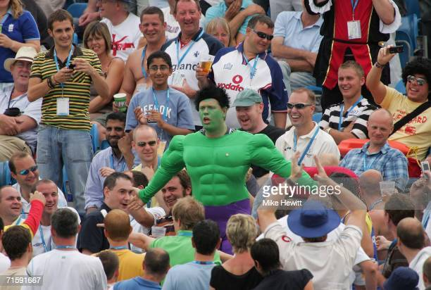 The Incredible Hulk entertains the crowd during day two of the third npower test match between England and Pakistan at Headingley on August 5 2006 in...