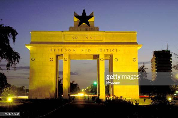 The Independence Arch monument at night in Accra the capital of GhanaWest Africa
