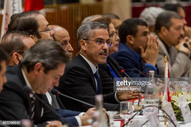 The Independent High Authority for Elections of Tunisia President Chafik Sarsar speaks during a press conference held by ISIE regarding the date of...