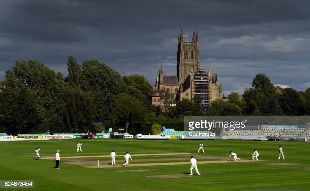 The India batsmen continue their 9th wicket partnership in the shadow of Worcester Cathedral during day one of the Second Under19s Youth Test Series...