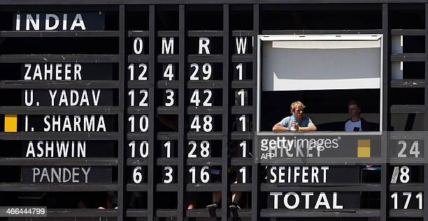 The India bowling scoreboard is seen during day one of the two day international cricket warm up match between the New Zealand XI and India at Cobham...