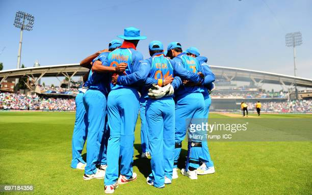 The India side hold a huddle during the ICC Champions Trophy Final match between India and Pakistan at The Kia Oval on June 18 2017 in London England