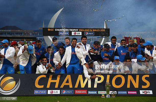 The India squad celebrate their 5 run victory at the victory celebrations during the ICC Champions Trophy Final match between England and India at...