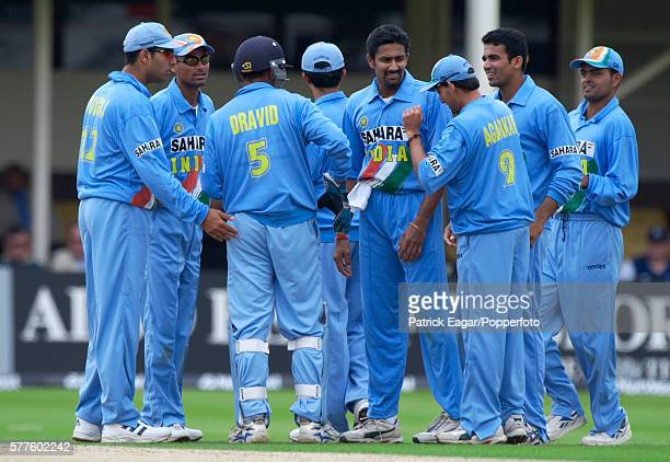 The India team celebrate a wicket during the 6th NatWest Series One Day International between India and Sri Lanka at Edgbaston Birmingham 6th July...